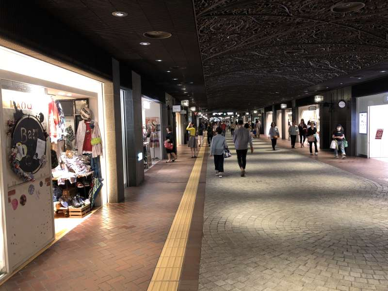 TENJIN CHIKAGAI -   An approx.590m-long underground shopping mall. Nearly 150 shops are located along the cobble-stone streets.