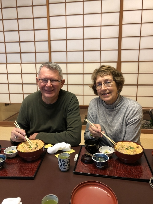 A lovely couple from Australia with traditional Japanese style dishes called