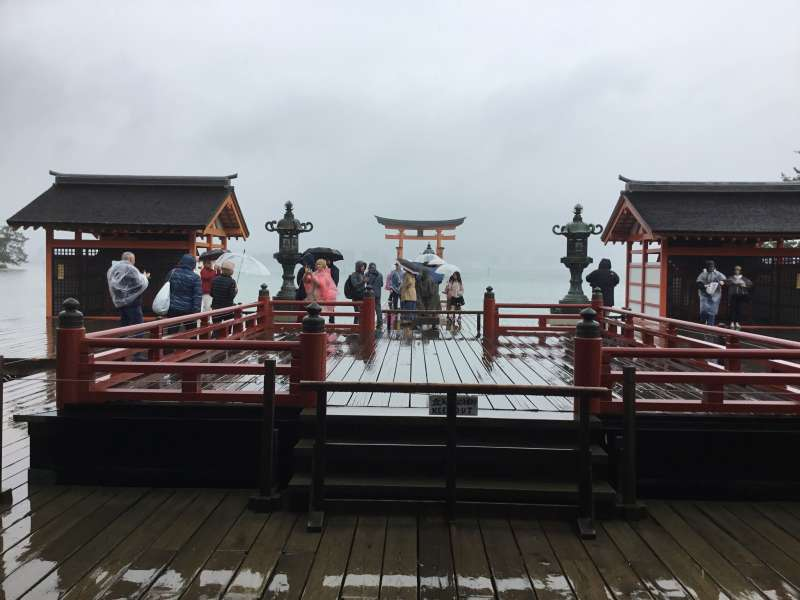 Plain stage as a garden of Itsukushima shrine in front of this shrine facing to the sea,