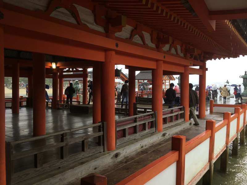Itsukushima shrine designed to prevent to be flooded by sea water