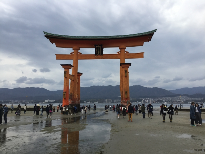 Torii gate of Itsukushima shrine during low tide in Hiroshima