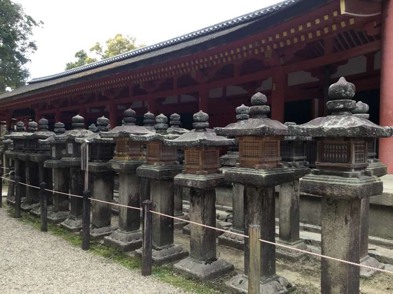 A lot of stone lanterns standing on both sides of the approach to the shrine. Two thousands of stone lanterns and one thousand hanging lanterns are  presented.
