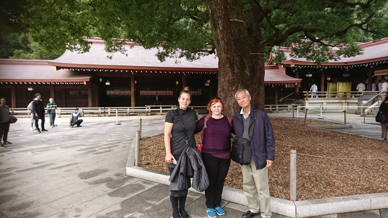 At Meiji Shrine with my guest