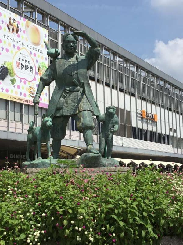 Meeting place (Momotarou statue, in front of JR Okayama station, east side)