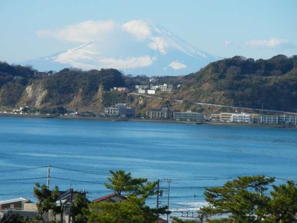 Mt, Fuji viewed from the hillside at the back of Komyoji Temple