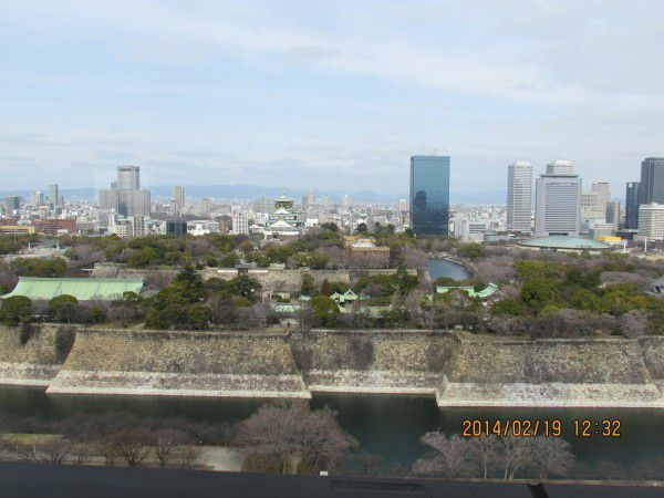 Osaka Castle can be seen in the center of this photo. I took the whole Osaka Castle including Castle Park and Outer Moat.