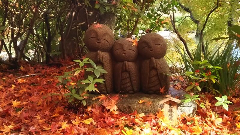 The adorable Jizo Buddhas make us smile and relaxed