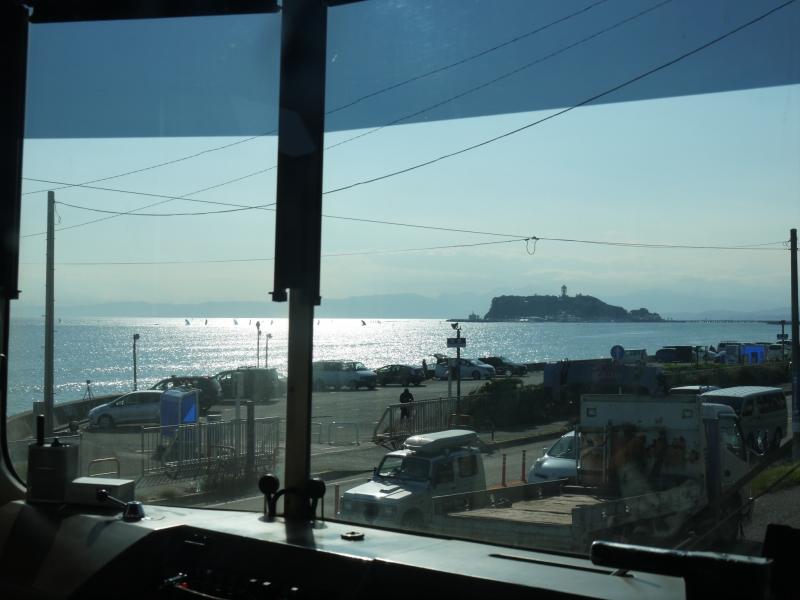 Enoshima Island from the local train(Enoden)