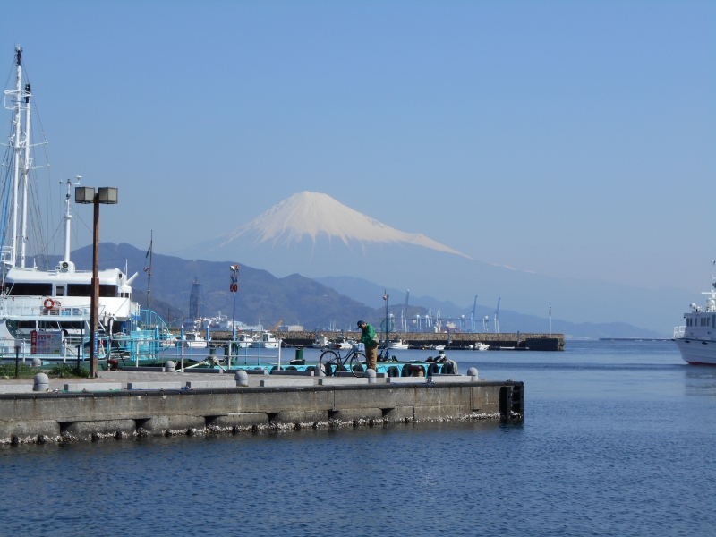 Shimizu Port with Mt. Fuji in the back.