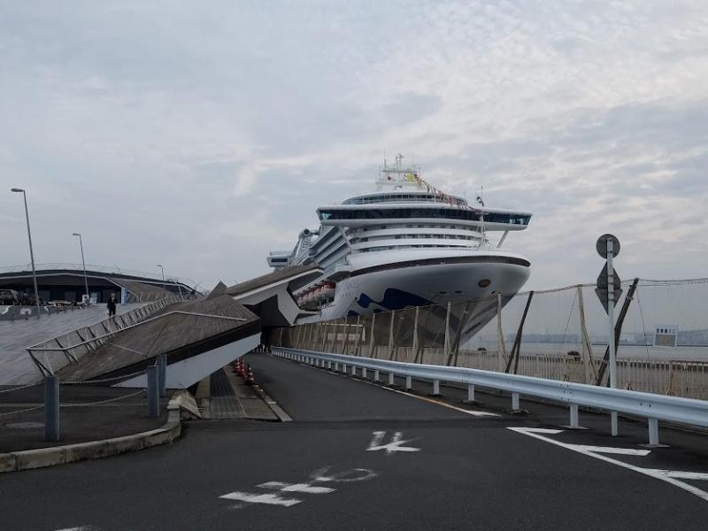 At Osanbashi Pier in Yokohama harbor.