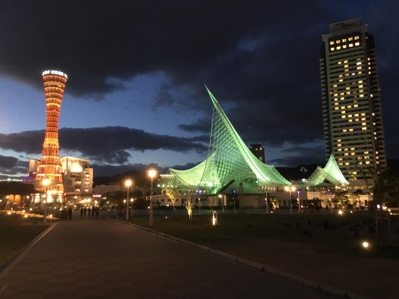 Lots of buildings such as Kobe port tower, Kobe Maritime museum and Kawasaki world