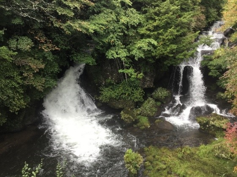 Ryuzu waterfall flow down on the lava over 210 meters created by an eruption of Nantai mountain.