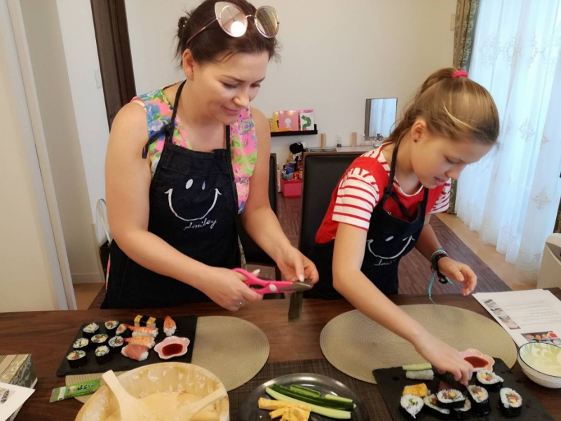 Making Sushi together!! Such a fun time!
