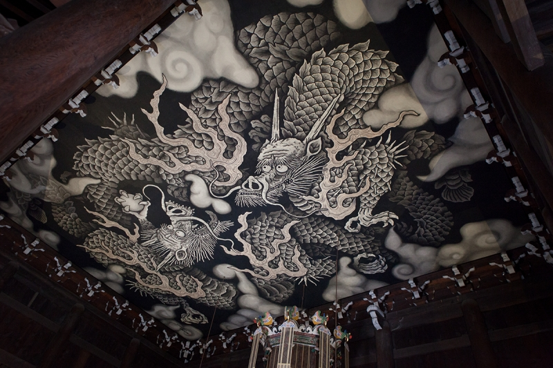 Twin Dragon painting on the ceiling of the lecture hall of Kennin-ji Temple