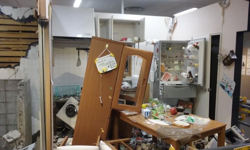 Una reconstrucción en exhibición en el centro de prevención de desastres.