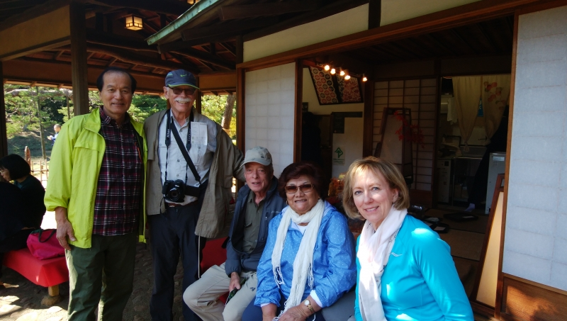 With a family from US in a Japanese garden