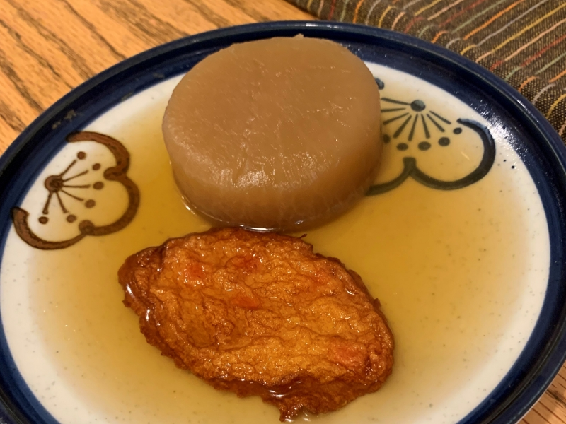 Oden is stewed vegetable and fried fish paste, which is typically Japanese hot pot dish.