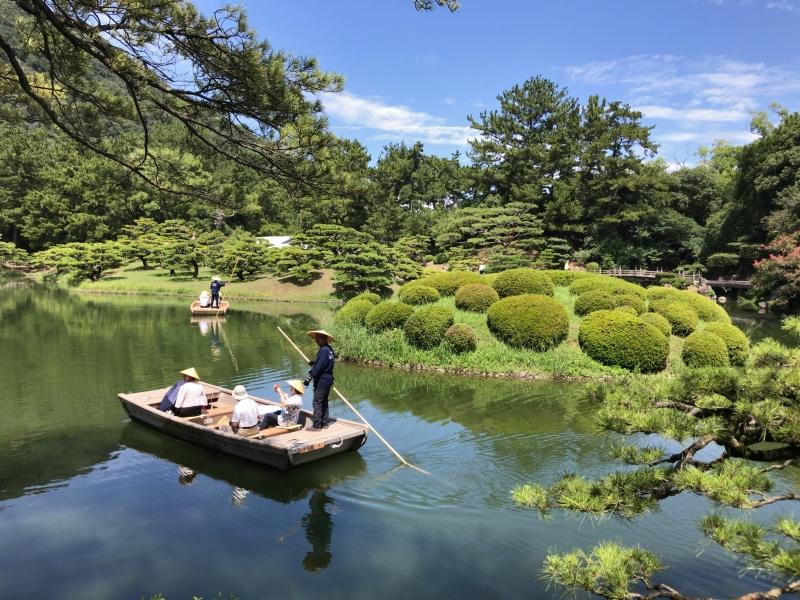 Ritsurin Garden where you can enjoy riding a boat