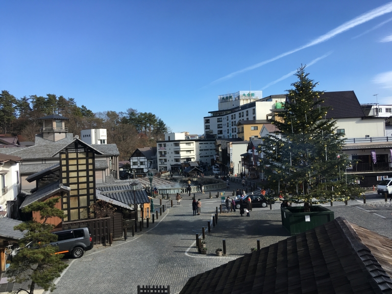 There are various shops in the spa town of Kusatsu.