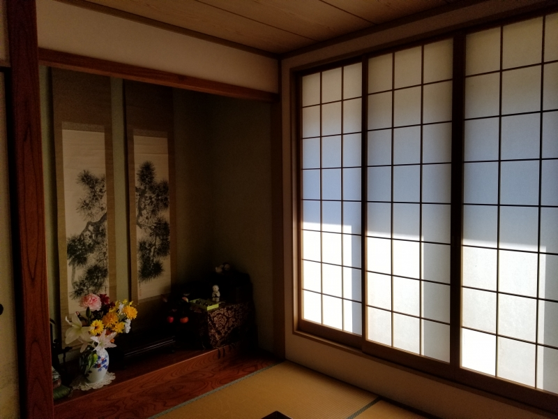 A traditional Japanese room with an alcove
