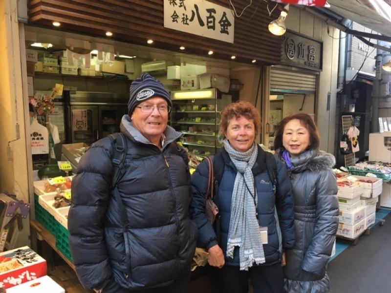 A wonderful couple from Australia at Tsukiji Outer Market, Jan. 2019