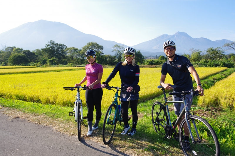 Riding in the middle of rice fields