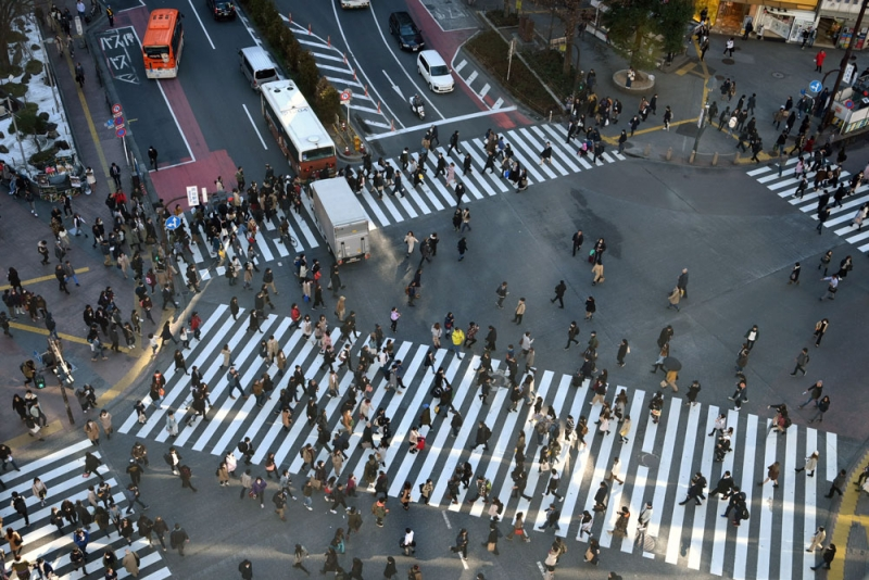 Shibuya scramble Crossing is getting worldly well-known now. Hachi-ko dog statue is just nearby.