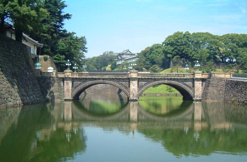 This is the picture of Nijubashi bridge of Imperial Palace.  It used to be a part of Edo Castle, a home of Tokugawa Shogun.