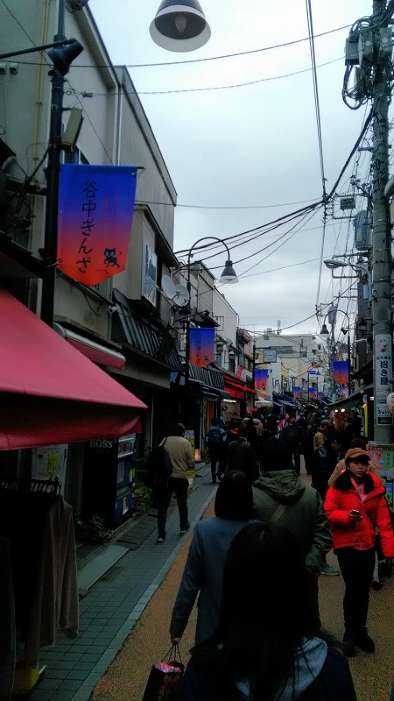 Yanaka shopping district. Here this road is always full of tourists dropping in at souvenir shops and small restaurants which serve you local food.