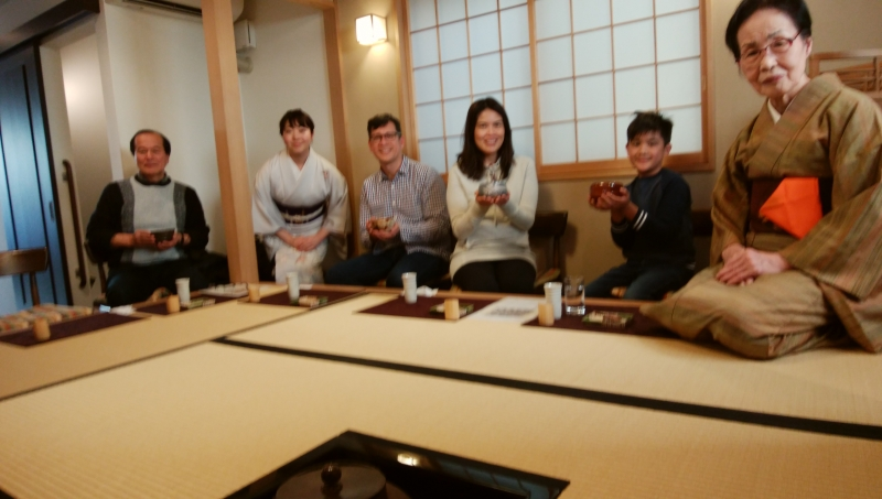 At a Tea Ceremony. You don't need to bend your legs.