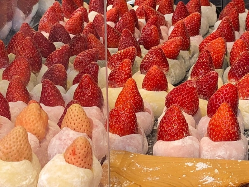 Sweet strawberry and mochi sweets. There are many kinds of beautiful fruits and mochi sweets.
