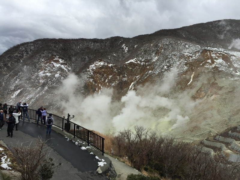 Owakudani Valley is an active volcanic zone where sulfurous fumes coming out. Enjoy black boiled egg, which is said to  give you 7 years longevity each.