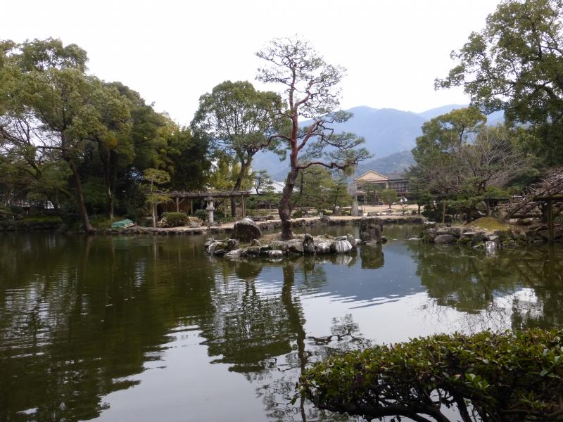 The pond and the Onigajo mountain in Tenshaen Garden (a borrowed landscape garden)