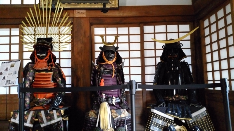 Suits of armor worn by famous feudal lords, Toyotomi Hideyoshi, Date Masamune and Date Hidemune (The first lord of Uwajima Date domain).( replicas)