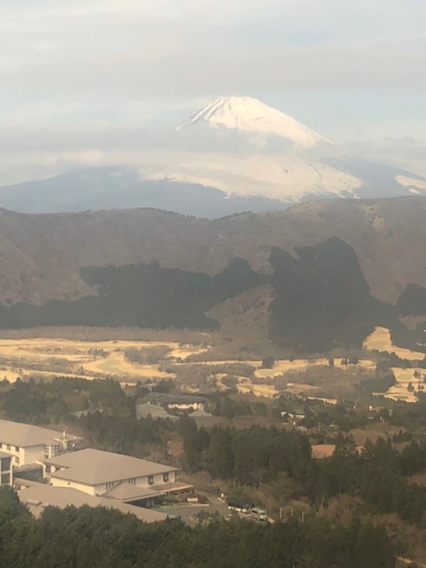 The view of Mt. Fuji from Owakudani