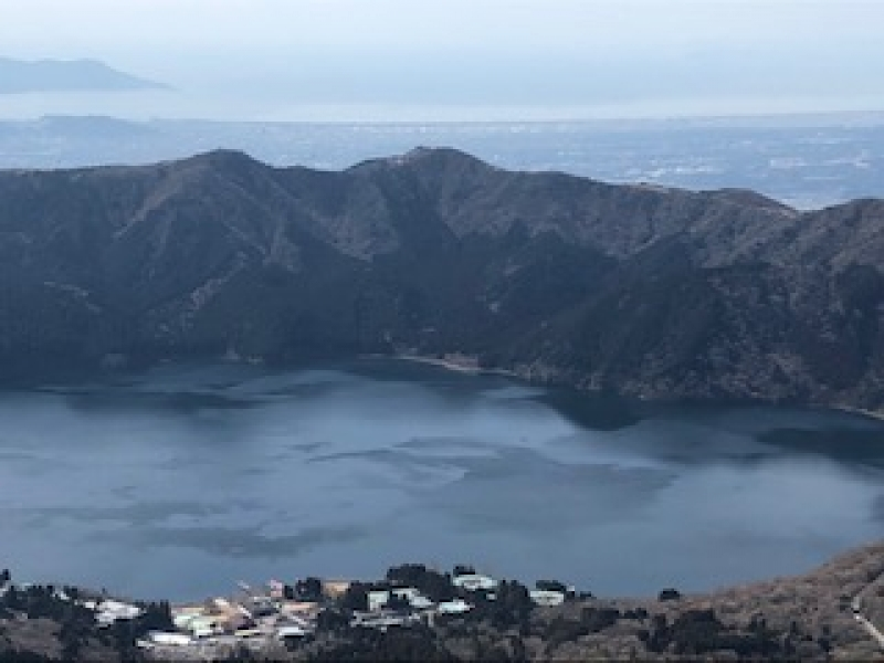 The view of Lake Ashi, the outer rim of Hakone mountains and Pacific Ocean from Mt. Komagatake