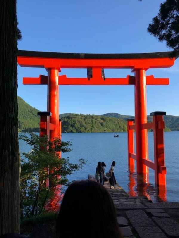 Torii Gate standing in Lake Ashi, famous as power spot