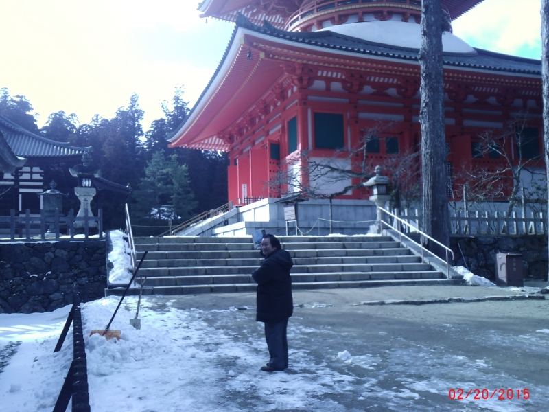Koyasan early in winter/ In front of a big pagoda