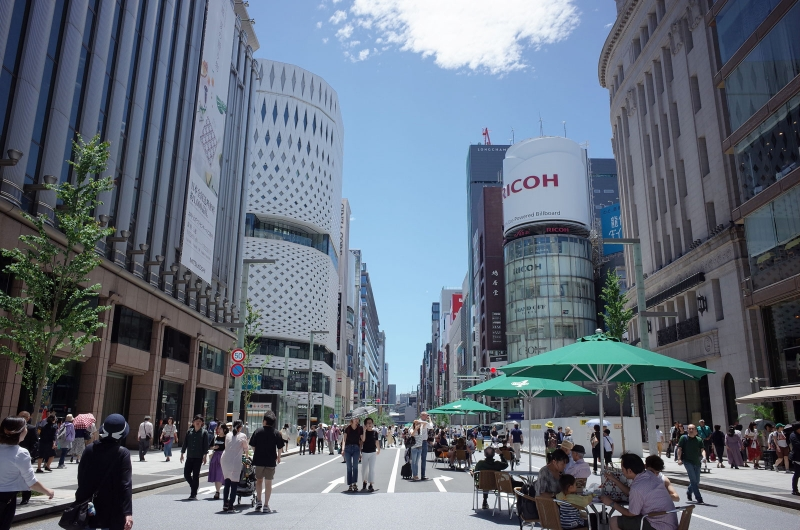 Ginza, famous brand shop district. Chuo (center) street turns into pedestrian paradise on weekends' afternoon.