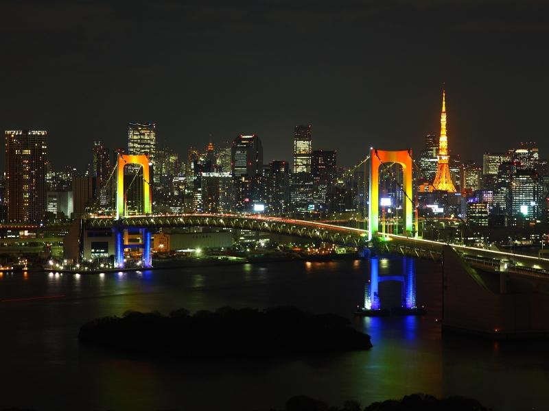 The beautifull Rainbow Bridge view from Odaiba erea.