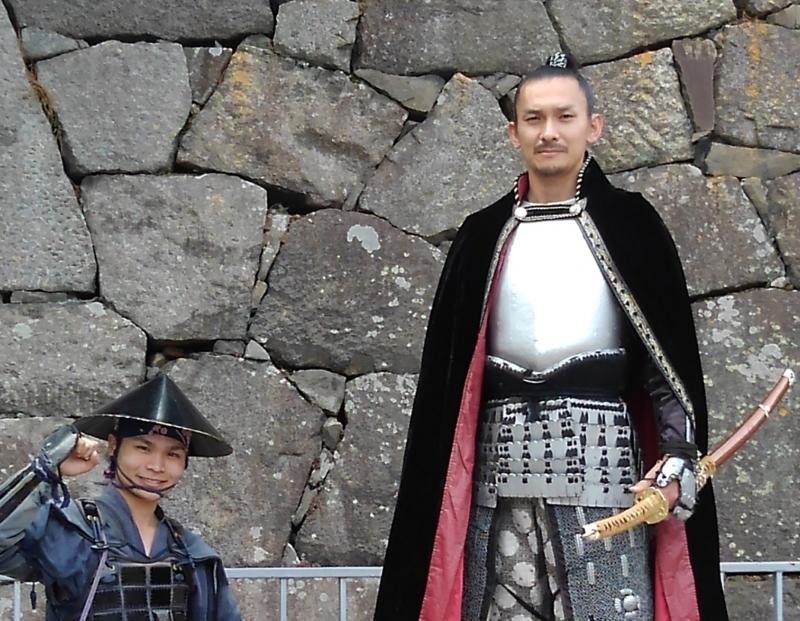 Samurai and his follower in Nagoya Castle