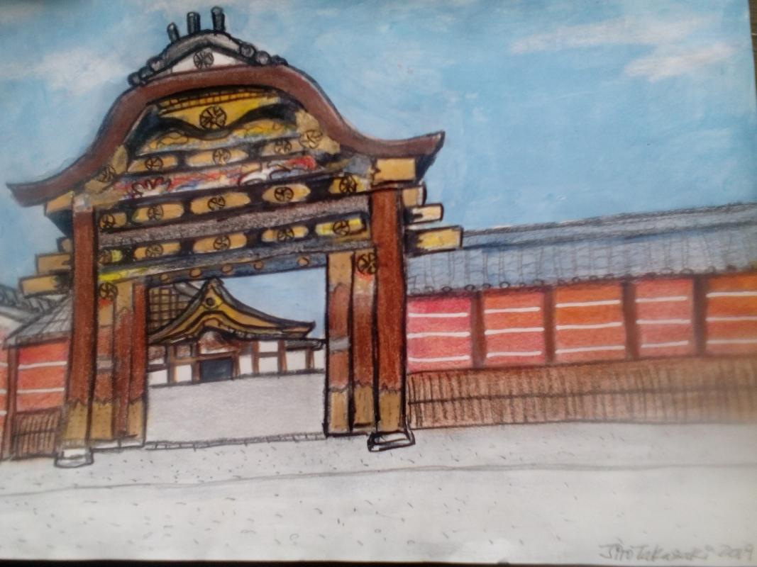 My illustration of Nijo-jo  Karamon  Chinese style gate that leads to Ninomaru-goten with marvellous decorations.