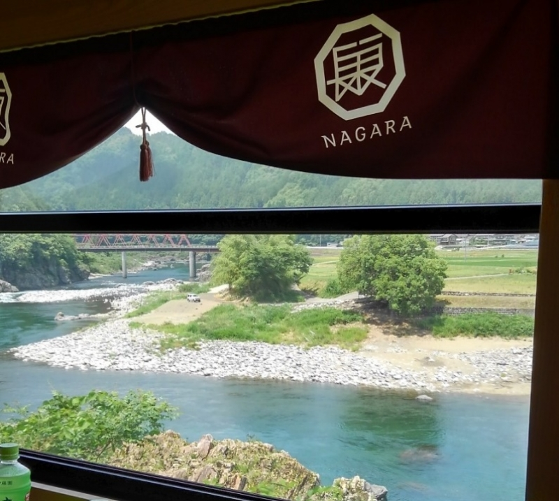 You can enjoy nice view of Nagara River from the train window.
