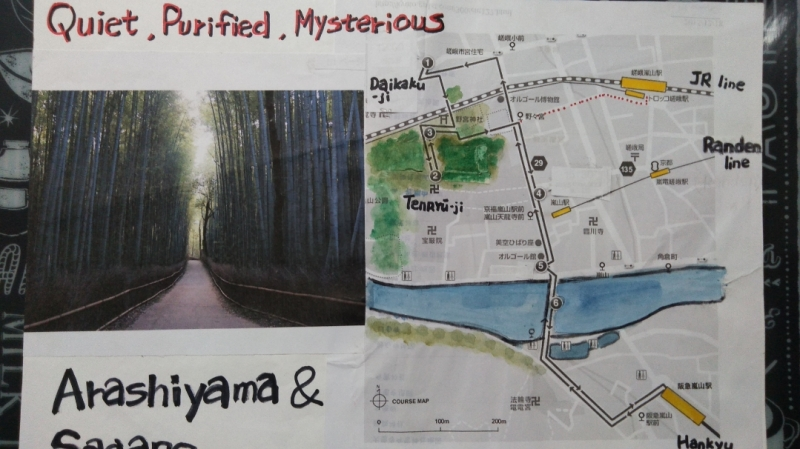 Map of Arashiyama area by my illustration. Pure air! You can see the river and mountain at sight.