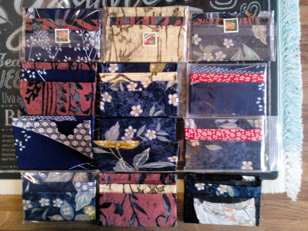 You may choose your favorite design from some selections. No one else has same card as yours for it is hand made one by one, wrapped with different parts of kimono cloth.
