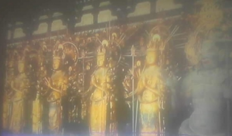 Pictures taken from TV program of 1001 statures of Buddha. Shootting, moving  picture is stricktly prohibited inside the temple.