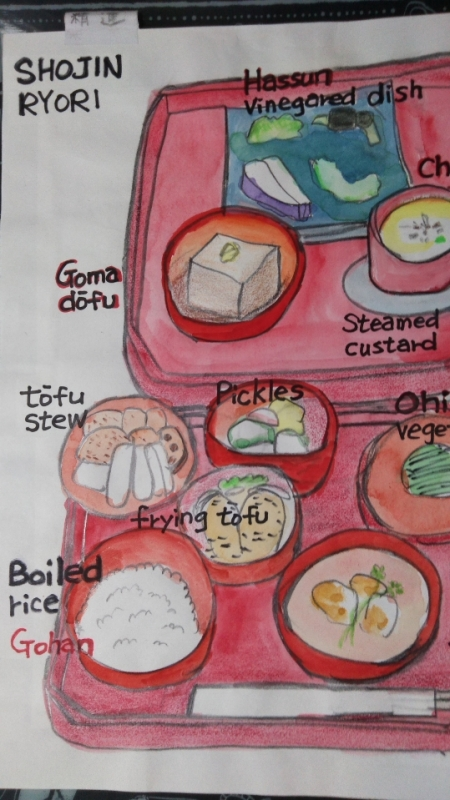 My illustration of shojin ryori , Japanese vegetarian dish to whom are interested in or planning to visit Koyasan.