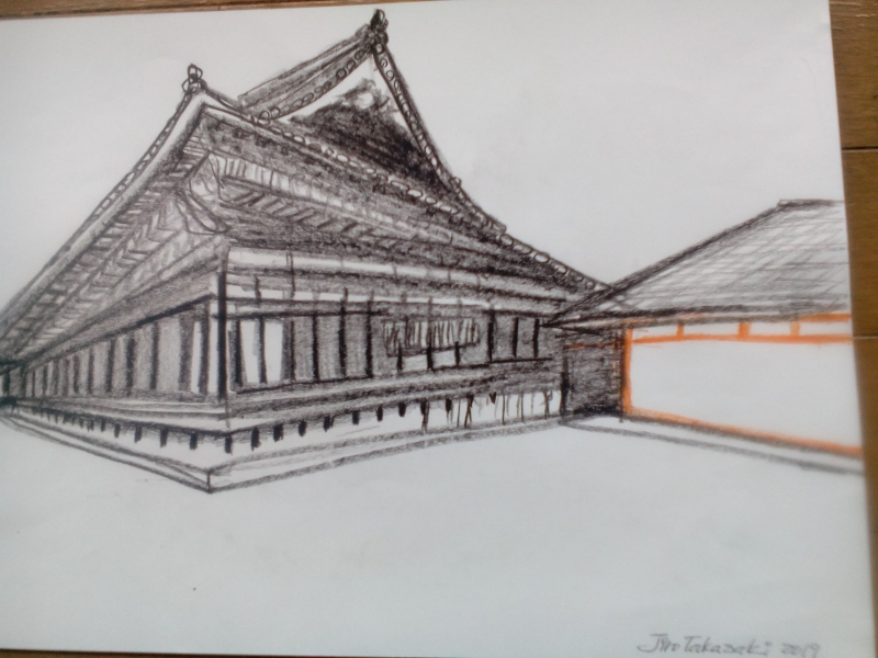 My illustration of Sanjusangendo that houses 1,001 statues of Buddha. Astonishing power of the atomosphere of the temple. Only 124 statues escaped the fire shortley after the foundation of the temple.