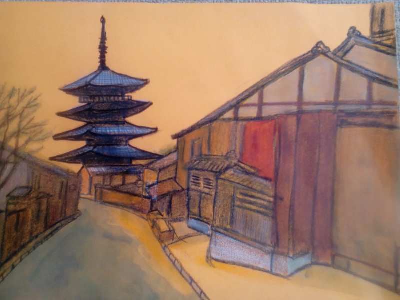 My illustration of Yasaka pagoda that is a part of Hokanji temple. It is a symbol of Kyoto people as landmark.