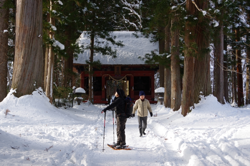 Snow shoeing to the shrine in winter season.